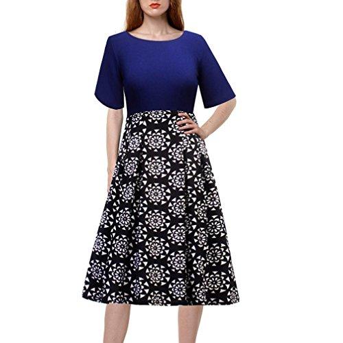 de manga media de las de RETUROM floral fiesta de mujeres informal estampado 2xl con vintage noche Vestido r6B808wAqY