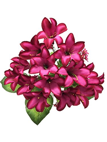 Silk Flower Garden 15 Heads Easter Lily Bouquet, Fuchsia