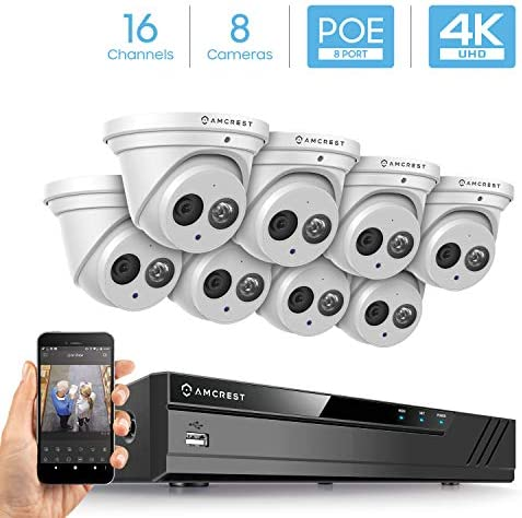 Amcrest 4K Security Camera System w 4K 16CH 8-Port PoE NVR, 8 x 4K 8-Megapixel Metal Turret Dome POE IP Cameras 3840×2160 , Hard Drive Not Included, NV4116E-IP8M-T2499EW8 White