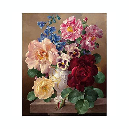 dontdo Fleur Peinture à l'huile Peinte à la Main par numéros Bureau Décoration Murale sans Cadre, Coton/Lin, Couleur 1#, Taille Unique