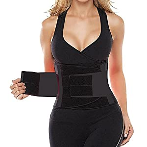 HLGO Women's Waist Trainer Belt Body Waist Shapewear Adjustable Waist Cincher Belt Weight Lost Waist Trimmer Belt black Color S Size