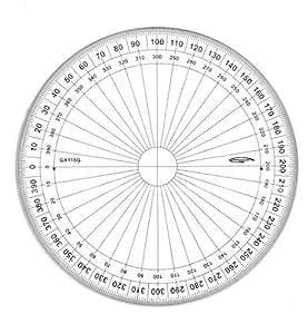 Graphoplex - Transportador circular (400 grados, sistema centesimal, 15 cm)
