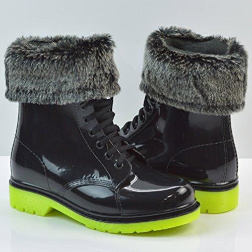 LvRao Mujeres Boots Impermeable de Lluvia Nieve Botas de Jardín Botines Corto con Cordones de Zapatos Negro Verde con Pelaje