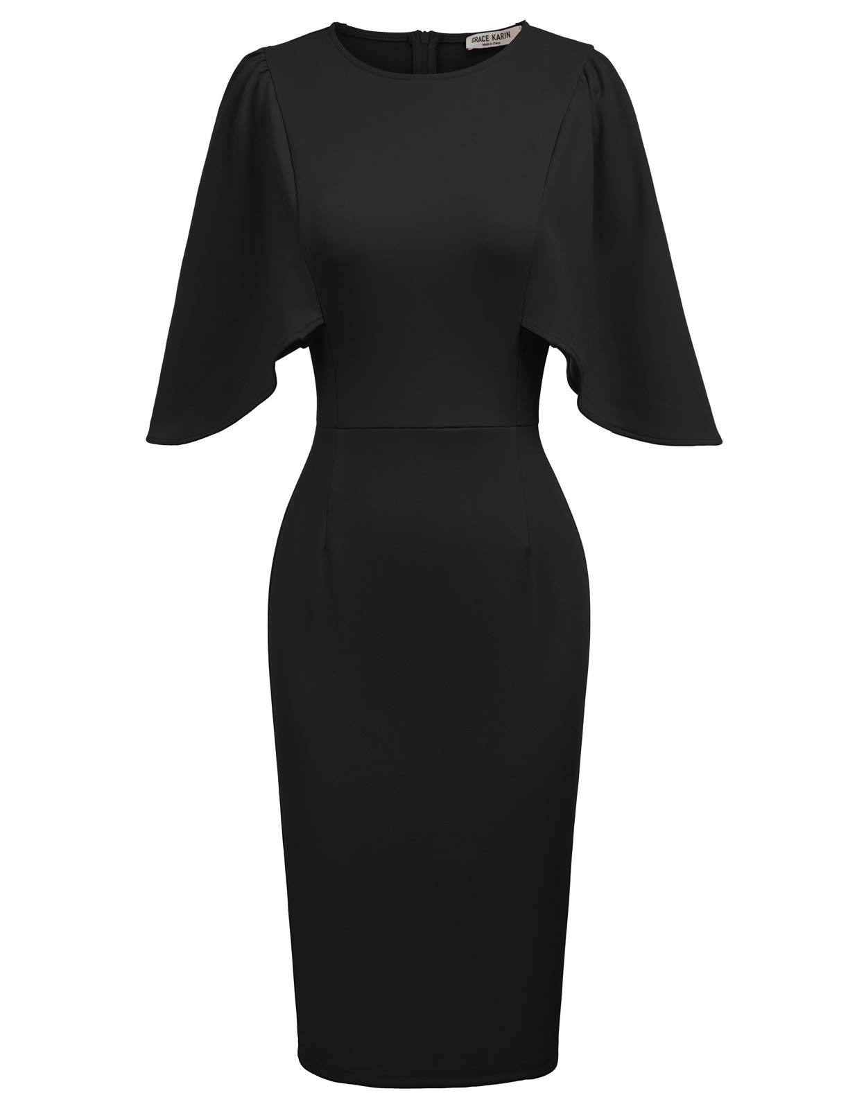 GRACE KARIN Women 3/4 Ruffle Sleeve Slim Fit Business Pencil Dress