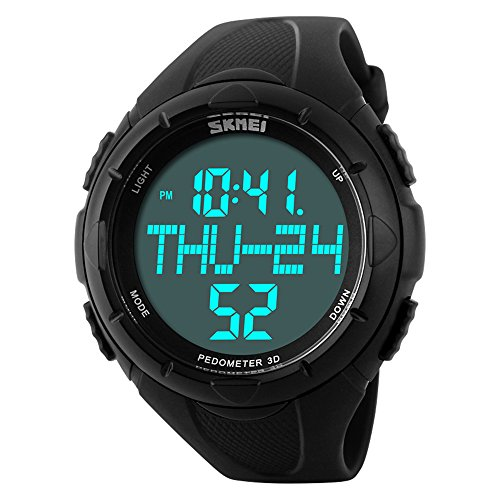 Mens Sport Digital Watch Pedometer Army Wristwatch Big Dial with Calories Distance Counting Fits 6.7''- 8.86'' 50m Waterproof (Black)