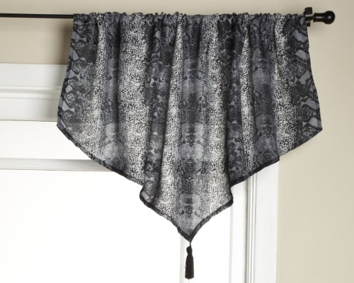 Stylemaster Animal Print Ascot Valance with Tassel, 40 by 21-Inch