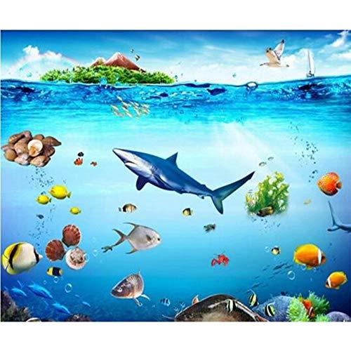 DIY 5D Diamond Painting by Number Kit,Shark Flatfish Flounder Fish Crystal Rhinestone Embroidery 5D Diamond Painting Supply Arts Craft Canvas Wall Decor 16x24 Inch