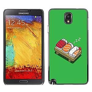 TopCaseStore / la caja del caucho duro de la cubierta de protección de la piel - Funny Lol Sushi Bed - Samsung Galaxy Note 3 N9000 N9002 N9005