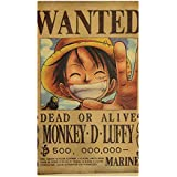Anime One Piece reward series retro poster, kraft paper poster, One Piece posters, personas, decorative paintings Monkey…