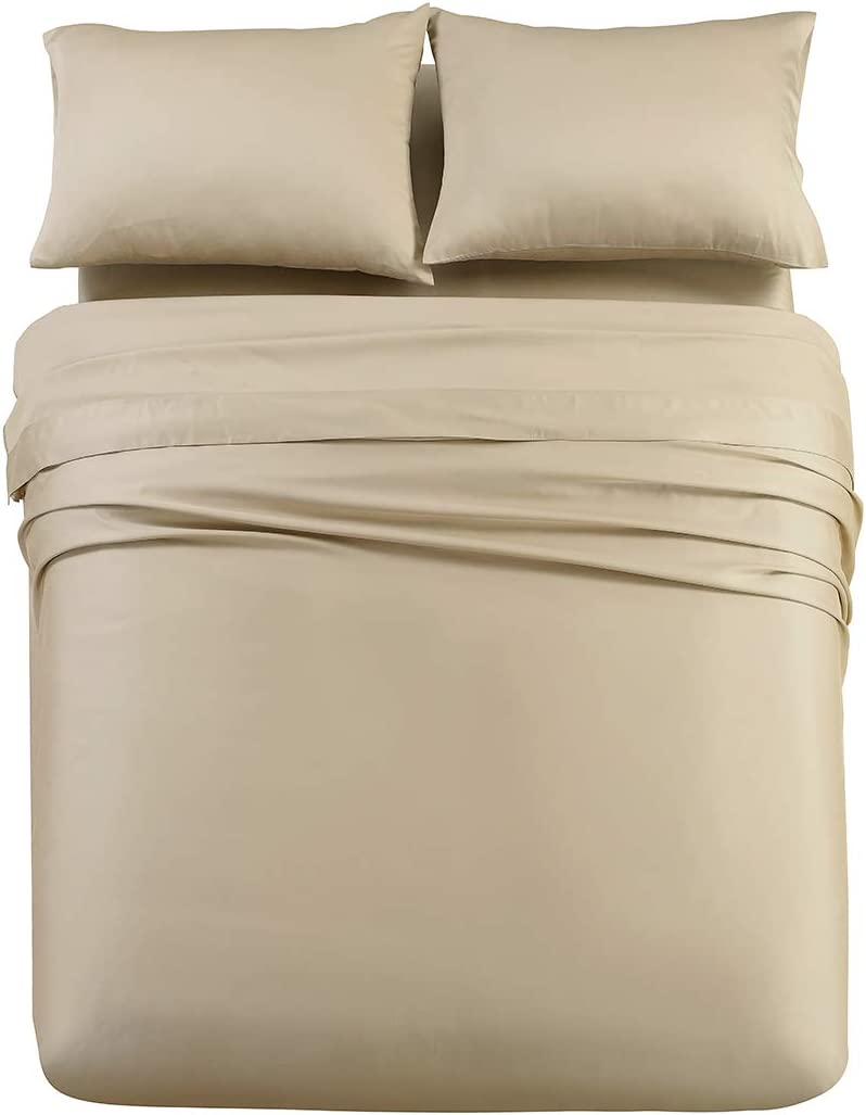 Abripedic Solid 600-Thread-Count, 100-Percent Tencel Lyocell, 5PC Split King Sheets Set for Adjustable Beds, Taupe