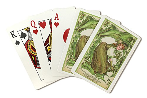 St. Patricks Day Poem with Woman Picking Shamrocks (Playing Card Deck - 52 Card Poker Size with Jokers)