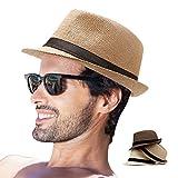 Straw Fedora Hat for Men Pack 3 Short Brim Sun Hat Women Summer Beach Hat Jazz Hat (Pack of 3)