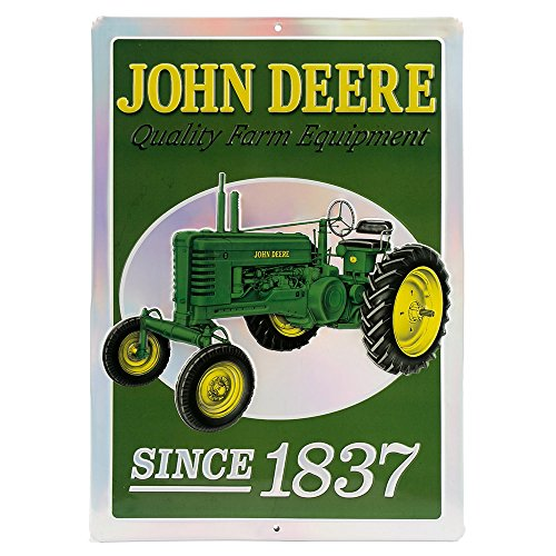 Open Road Brands John Deere Since 1837 Vintage Quality Farm Equipment, Embossed Metal Wall Art Sign - an Officially Licensed Product Great Addition to Add What You Love to Your Home/Garage Decor