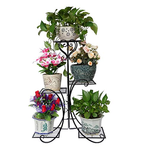 Potted Plant Stand,Multi-Tier Wrought Iron Flower Holder,Pot Storage Display Shelf Potted Rack Metal Decor for Indoor Outdoor Balcony Planter,Black (Holder Wrought Pot Flower Iron)