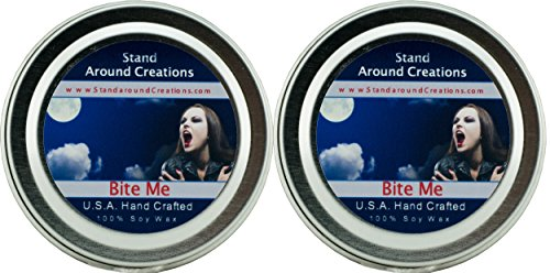 (Premium 100% Soy Candles - Set of 2-2oz Tins - Scent: Bite Me: Fresh citrus notes of lime and orange create a luscious blend of berry and cherry w/Leafy green accents.)