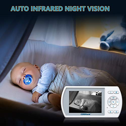 """Campark Baby Monitor with Camera and Audio, 355° Remote Pan Digital Zoom, Interchangeable Optical Lens, VOX Mode Lullaby Player, Night Version, Two-Way Talk Audio, 3.5"""" LCD Display, Support 4 Cameras"""