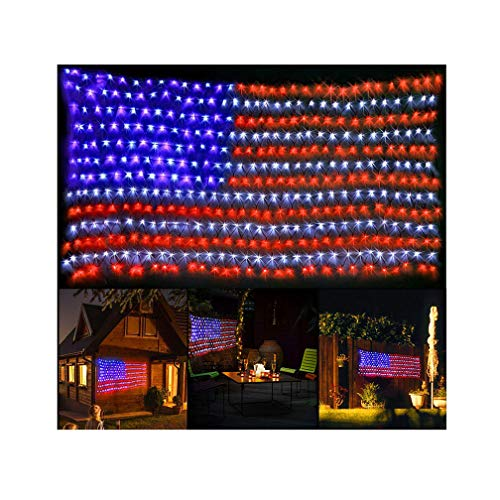 Decute Upgraded American Flag String Lights, 390 LED Curtain Christmas Light Decoration for Independence Memorial Day Garden Outdoor Indoor Canopy Patio, UL Certification -