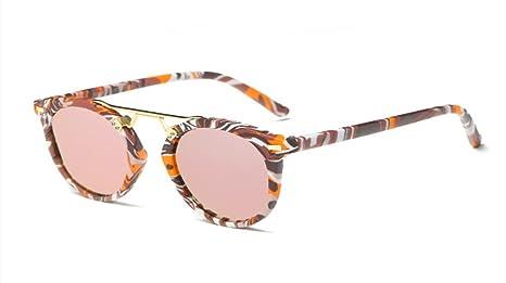 HONG Occhiali da sole ed elegante legno-granella telaio rotondo occhiali da sole, D.
