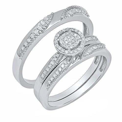 Dazzlingrock Collection 0.30 Carat (ctw) Round Diamond Men & Women Ring Trio Set 1/4 CT, Sterling Silver