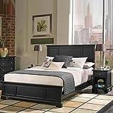 Home Styles Bedford Queen Wood Panel Bed 2 Piece Bedroom Set in Ebony