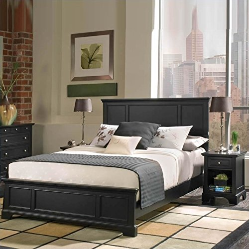 Ebony Bed Set - Home Styles 5531-5013 Bedford Queen Bed and Nightstand, Black Ebony Finish