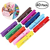 OUNONA 40pcs Wooden Clothespins Durable Clothes Pegs Pins, Colorful photo clip , 2.9