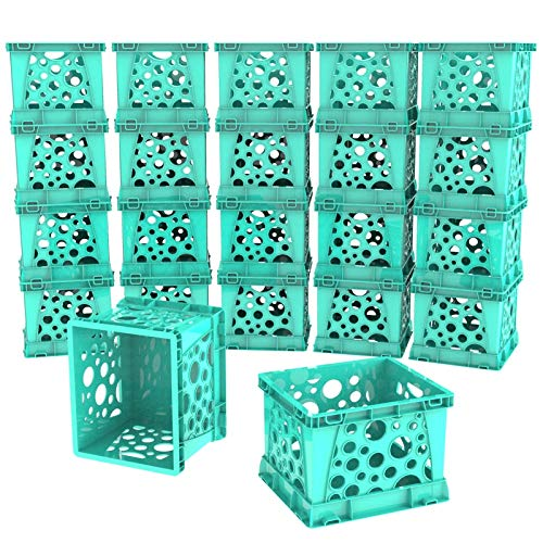 Storex Micro Crate, 6.75 x 5.8 x 4.8 Inches, Teal, 18-Pack (63108U18C) by Storex