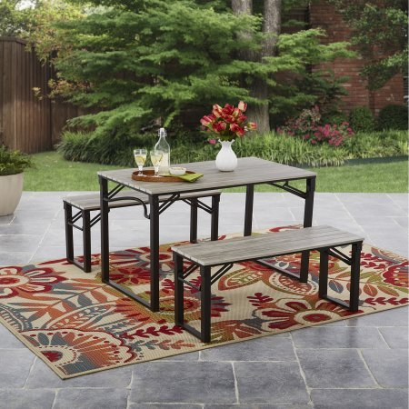 Talan Faux Wood Outdoor Folding Picnic Table and Bench Set