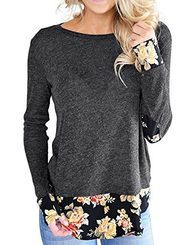 Aliex Women's Tunic Top Long Sleeve Casual T-Shirt Floral Sweatshirt Black XL