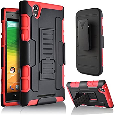 ZMAX Case, ZTE ZMAX Z970 Case, Starshop Hybrid Full Protection High Impact Dual Layer Holster Case with Kickstand and Locking Belt Swivel Clip (Zte Zmax Phone Case Z970)