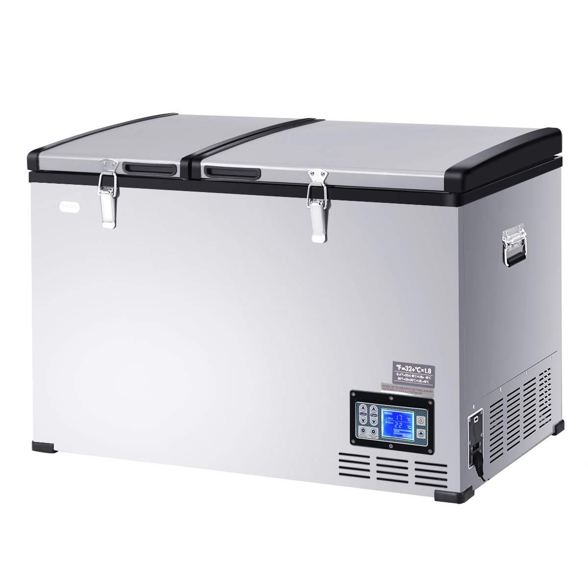 COSTWAY Compact Car Travel Refrigerator Freezer Portable Compressor Mini Fridge For Car and Home, Camping, Truck Party, Travel, Picnic Outdoor (105 Quart)