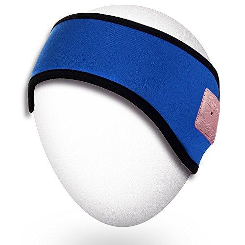 Rotibox Lightweight Sweatproof Bluetooth Headband Headphone Headset Earphone Music Headband Speakerphone with Stereo Speaker and Microphone Hands-Free for Gym Exercise Outdoor Sports Running-Blue