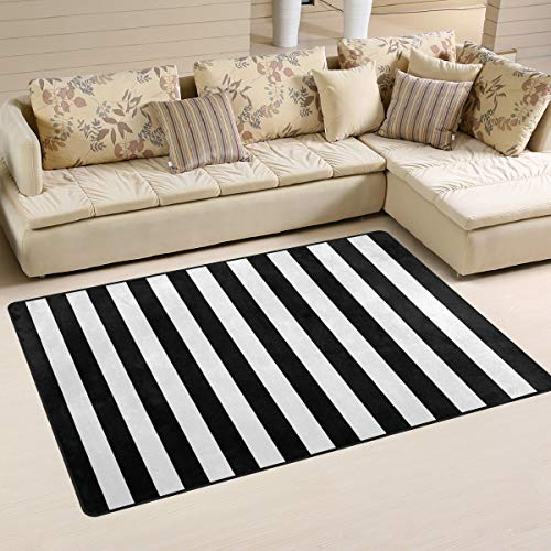 Rug Black Rain (FOLPPLY Black White Stripes Area Rug, Non-Slip Carpet Floor Mats for Indoor Outdoor Front Door Bathroom Home Decor, 3' x 5')
