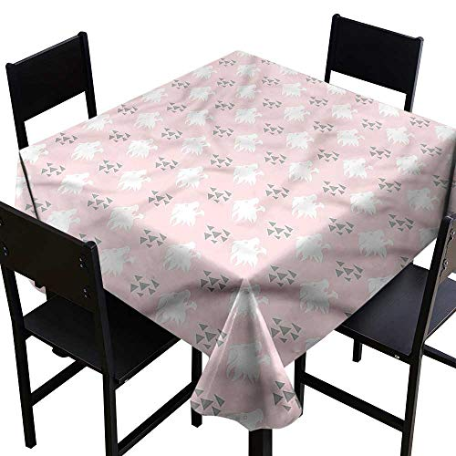 (haommhome Wrinkle Resistant Tablecloth Lion Roaring Lion Head Silhouette Table Decoration W63 xL63 Great for Buffet Table)