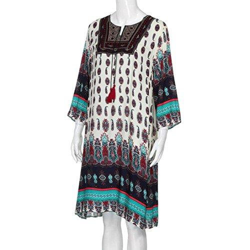 Koly mujeres bohemio floral bordado V-Neck 3/4 vendimia suelto étnico estilo longitud de la rodilla casual vestido negro1