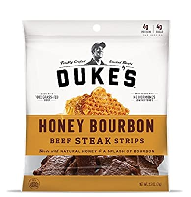 DUKE'S Honey Bourbon Beef Steak Strips, 2.5-ounce Bags (Pack of 2)