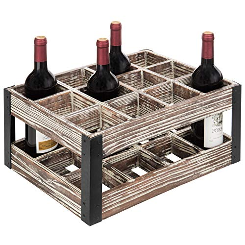 - MyGift Rustic Metal & Wood Crate 12-Bottle Tabletop Wine Rack