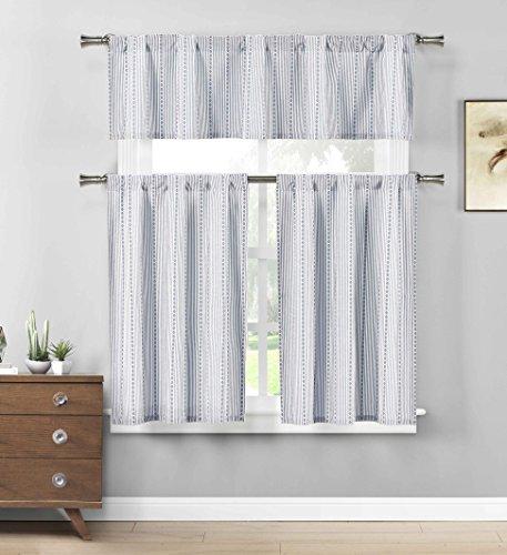 (Three Piece Cotton Rich Kitchen/Cafe Tier Window Curtain Set: Striped Pattern (Blue))