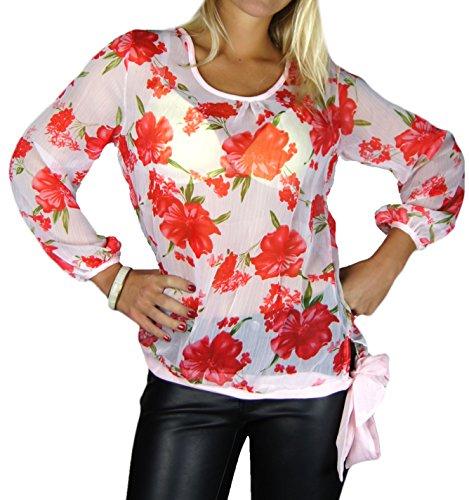 Blanc Fleurs Femme shirt Pour Alzora T Blanc rouge Chemisier 10282 wRxZHP7Yn