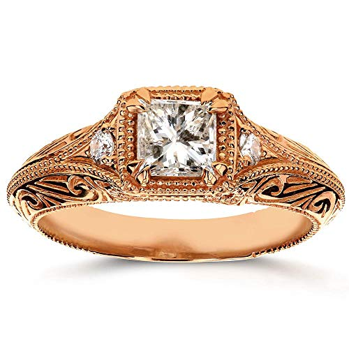- Diamond Antique Filigree Engagement Ring 5/8 CTW in 14k Rose Gold, Size 11