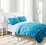 Cassiel Home Gorgeous 3 Pieces Waterfall Flowing Ruffle Comforter Set Girl's Bedding Set Gifts for Kids Teen (Twin XL, Teal)