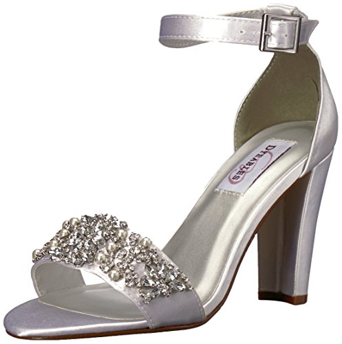 Dyeables Women's Felicity Heeled Sandal, White, 7 M US
