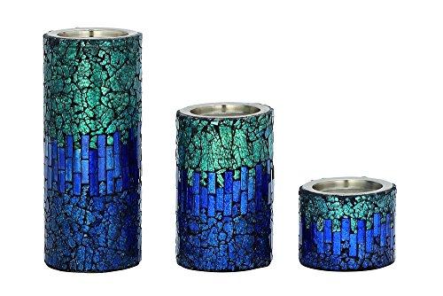Deco 79 42138 Metal & Mosaic Candleholder Set of 3