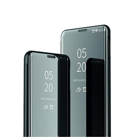 new concept e0a45 984f0 Starred Clear View Standing Cover for Samsung Galaxy S10 PC 360-degree  Protective Mirror Case Shockproof Protective Flip Case (Black)
