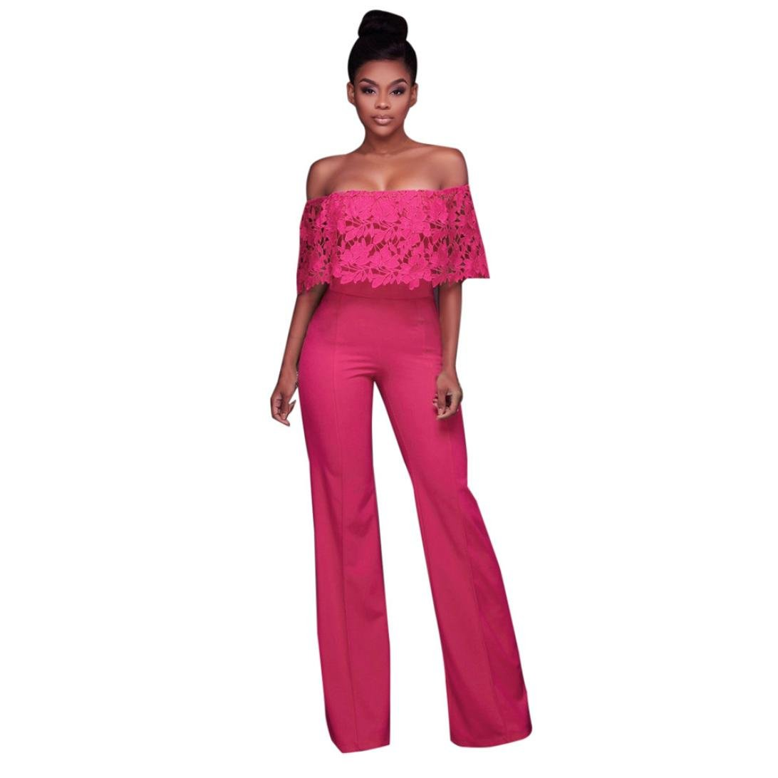 Amazon.com: Women Jumpsuit Daoroka Sexy Off Shoulder Ruffled Long Sleeve Cocktail Party Club Rompers Wide Long Pants Casual Slim Fit Elegant Playsuit (M, ...