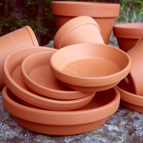 Weston Mill Pottery Round terracotta plant pot saucers - 9cm diameter (pack of 10)