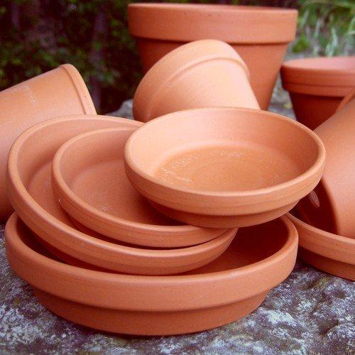 Round terracotta plant pot saucers 9cm diameter pack of 10