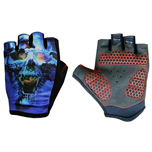 fengus Lycra Breathable Outdoor Sports Gloves Racing Cycling Motorcycle Motorbike Bike Half Finger Fingerless Gloves --- skull - XL