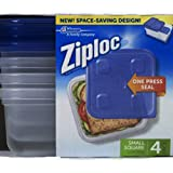 Ziploc 3 Cup Small Square Food Storage Container 4 Count