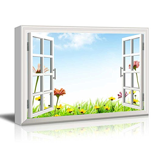 Print Window Frame Style Wall Decor Beautiful Flowers and Clear Blue Sky Gallery Stretched
